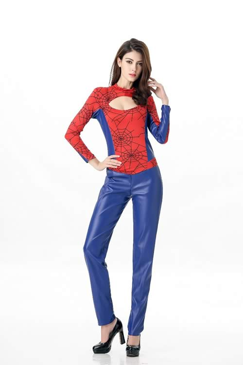 Red Cutout Sexy Spider Woman Costume