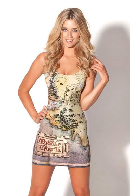 Women Middle Earth Map Print Sleeveless Mini Dress