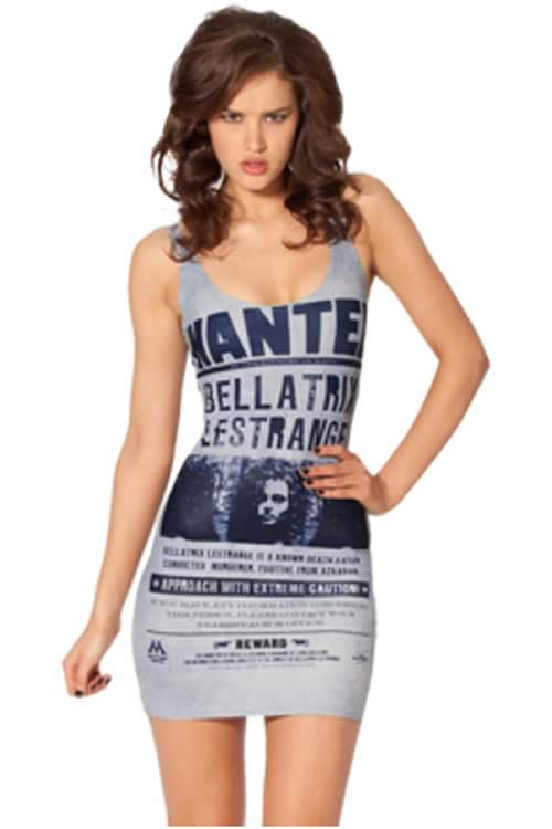 Womens Character Bellatrix Print Mini Dress in Grey