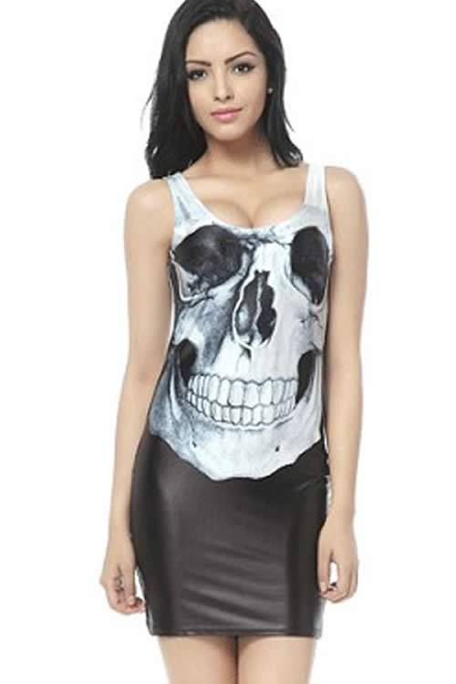 Womens Sleeveless Skull Print Mini Dress in Black White