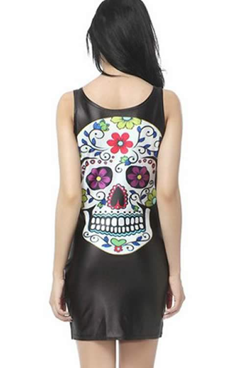Womens Gothic Colorful Skull Pattern Mini Dress in Black