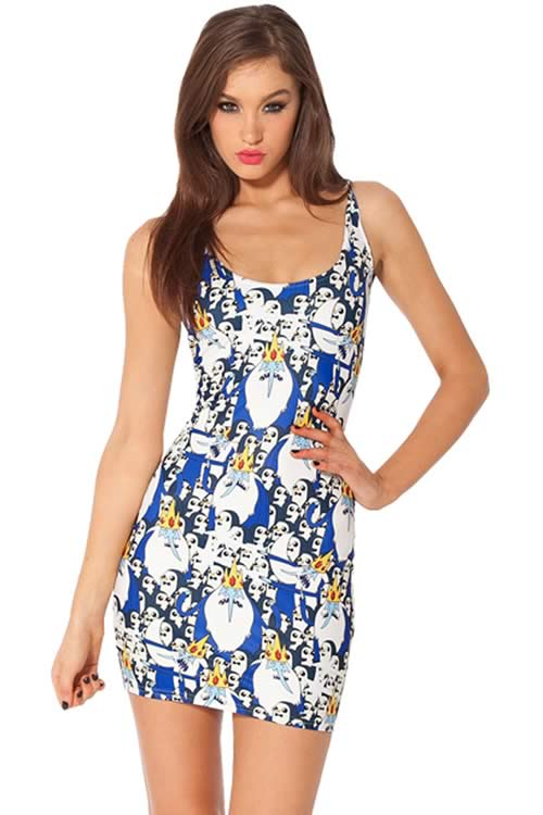Womens Ice King and Penguin Print Mini Dress in Blue White