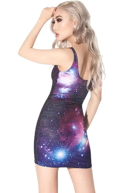 Womens Galaxy Sleeveless 3D Digital Print Mini Dress