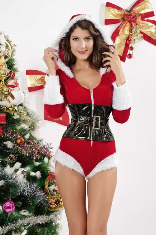 Short Velvet Romper Christmas Costumes for Women