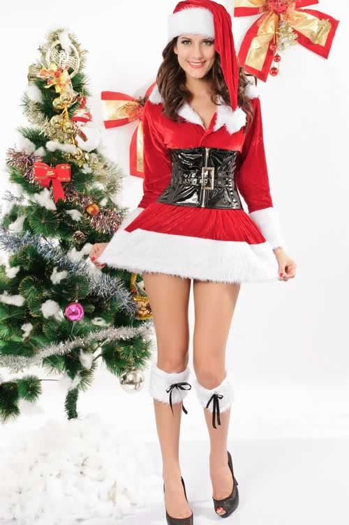 Women Velvet Christmas Costumes with Zipper