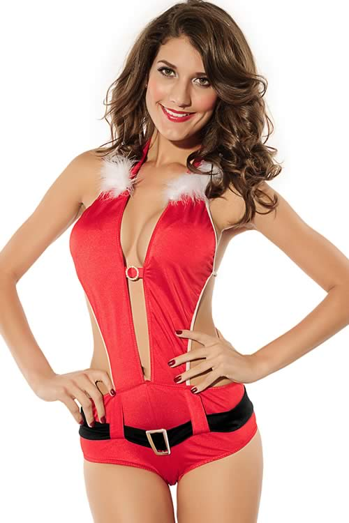 Playful Girl Santa Christmas Romper Costume