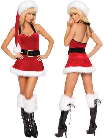 Santa Christmas Fur Mini Dress for Women