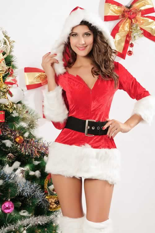 Christmas Hooded Fur Trim Velvet Santa Dress
