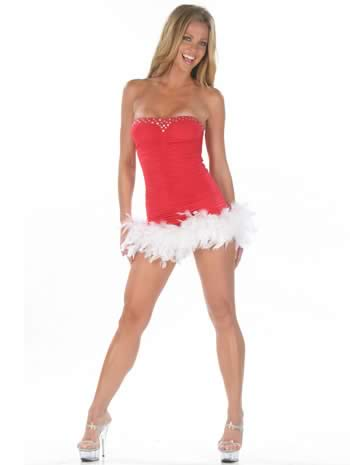 Christmas Feathers Tube Mini Dress for Girl