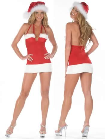 Glazed Halter Christmas Mini Dress for Women