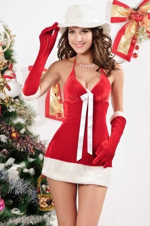 Deep V Velvet Santas Honey Christmas Costume