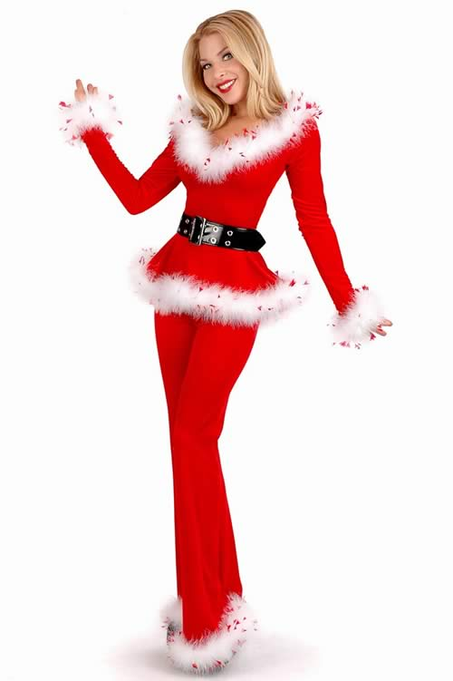 Punk Santa Off Shoulder Christmas Costume with Top and Pants