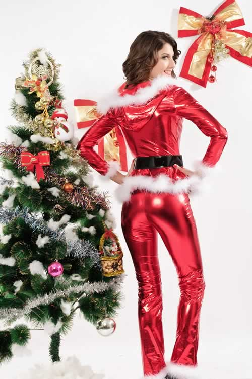 Shining Punky Santa Costume with Hoodie Top and Pants