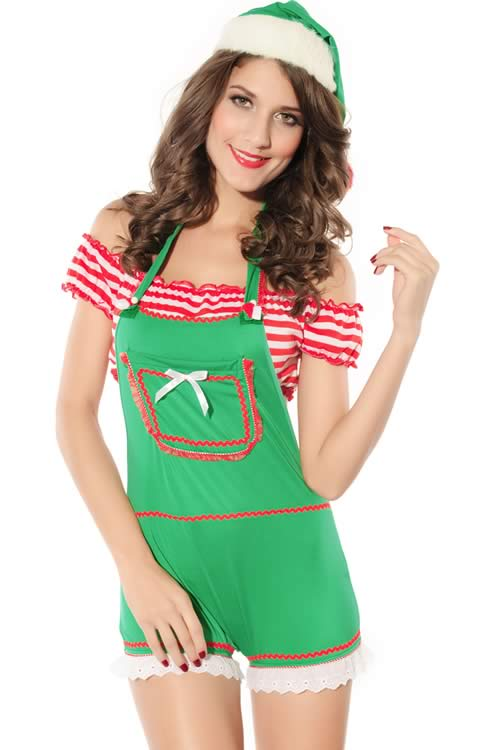 Christmas Girl Halter Forest Elf Costume in Green