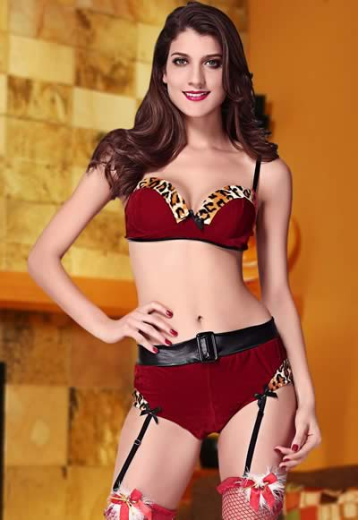 Trims Velvet Leopard Christmas Costume for Women