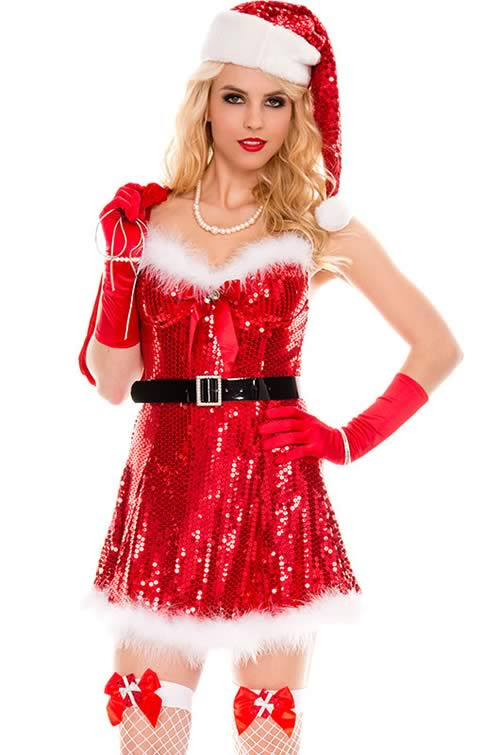Christmas Sparkly Miss Santa Costumes for Women