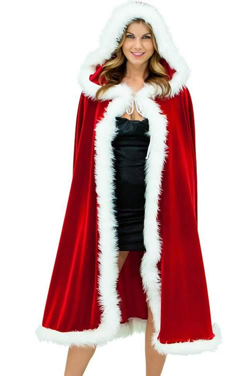 Deluxe Velvet Hooded Cape Cloak Christmas Costumes