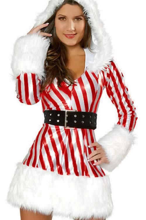 Women Candy Cane Christmas Costume in Red and White