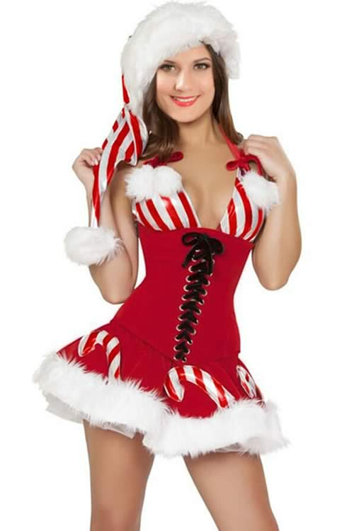 Candy Cane Christmas Corset Costume for Women