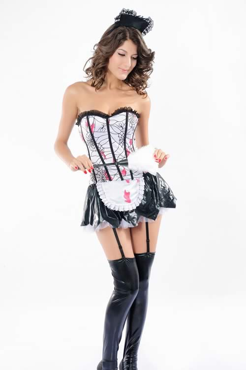 Halloween Bloody Zombie French Maid Costume for Women