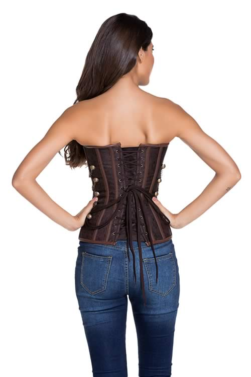 Brown Leather Steampunk Steel Boned Corset