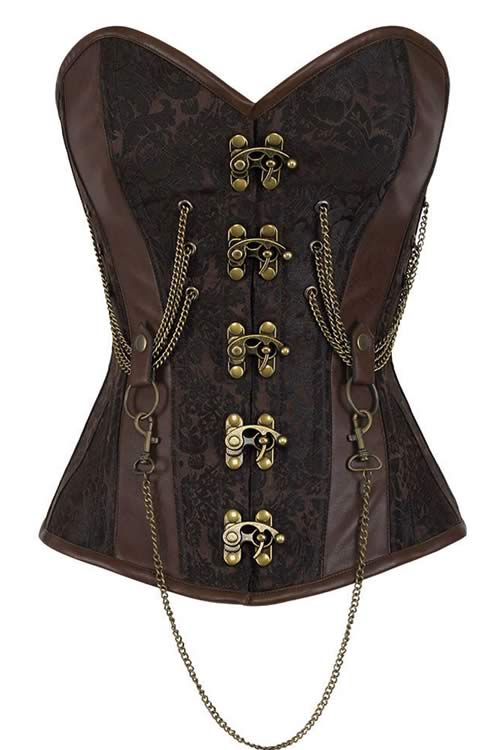 Steel Boned Chained Hourglass Steampunk Overbust Corset