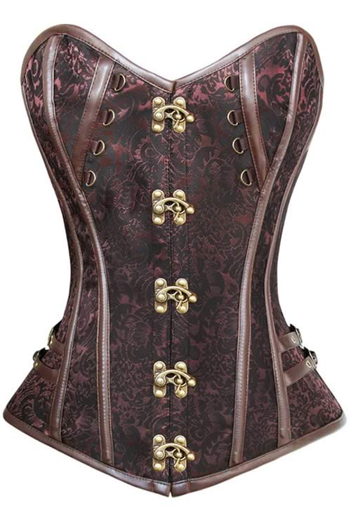 Brown Steel Bone Steampunk Leather Overbust Corset