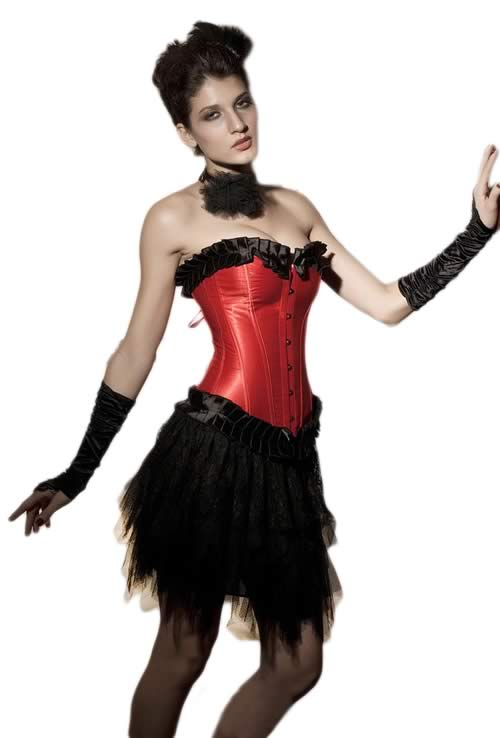 Red Ruffled Saloon Overbust Corset for Sale
