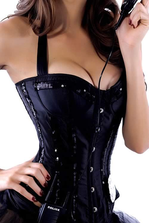 Sequin Neck Line Angel Slimming Corset in Black