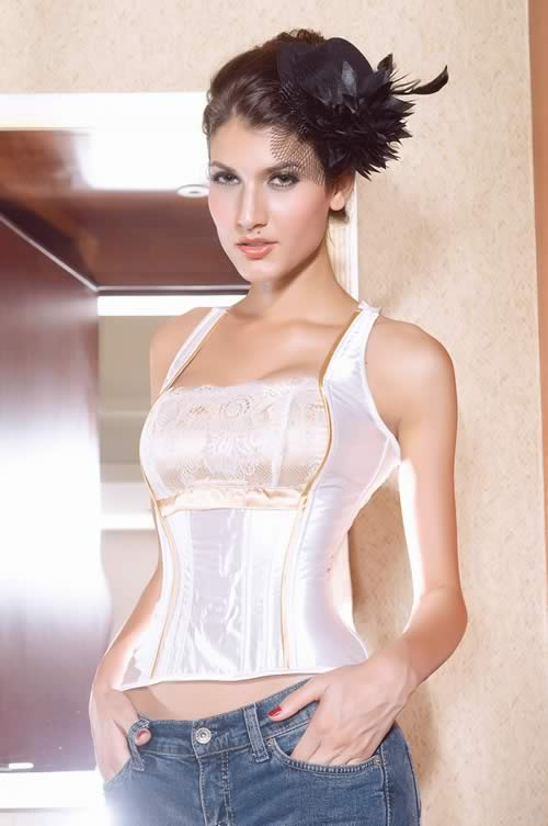 Fashion Satin Slimming Corset in Ivory