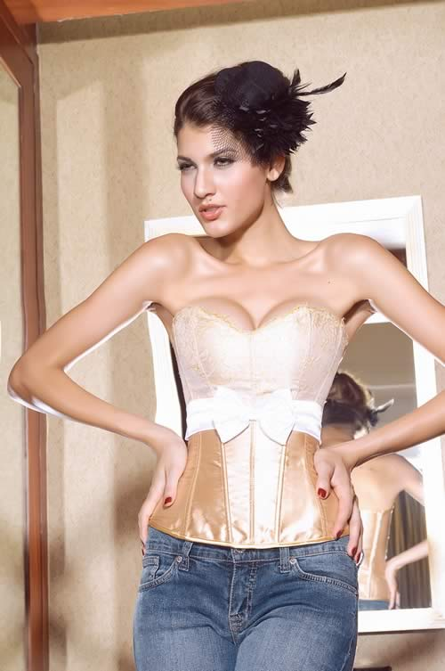 Best Satin Lace Overbust Boudoir Corset in Gold