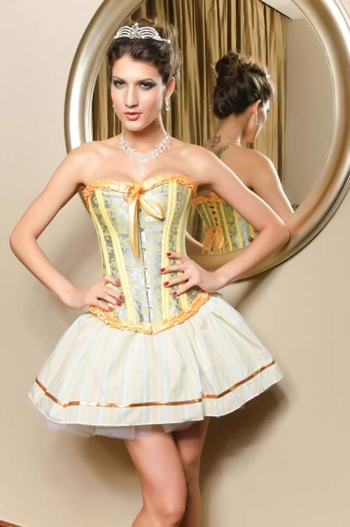 Palace-style Ruffled Waist Cincher Corset in Yellow and Sliver