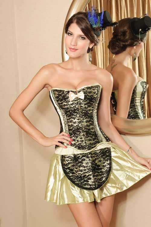 Classic Waist Cincher Steel Boned Corset in Green