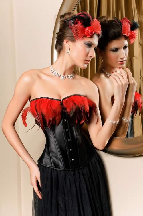 Feathers Faux Leather Strapless Corset in Black