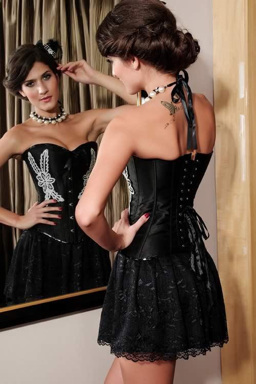 Vintage Waist Cincher Floral Embroidery Corset in Black