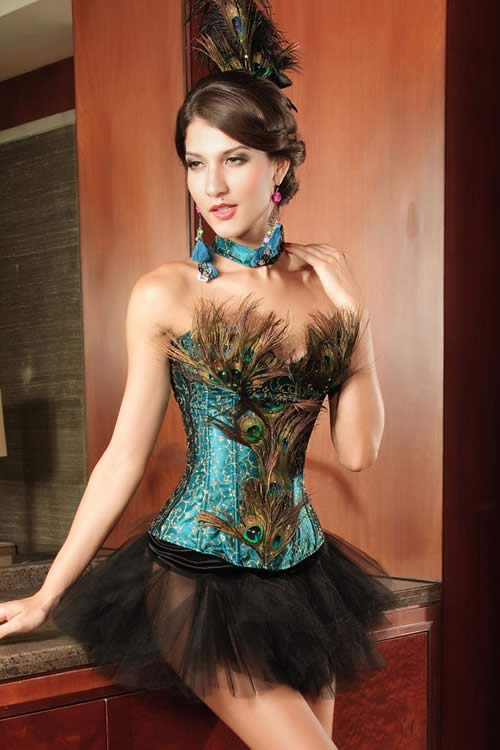 Luxury Waist Cincher Rhinestones Peacock Corset in Blue