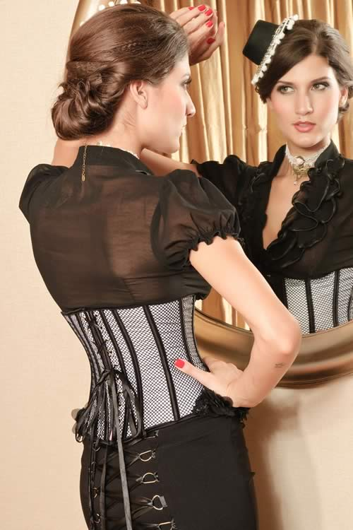 Waist Training Mesh Underbust Corset in Black