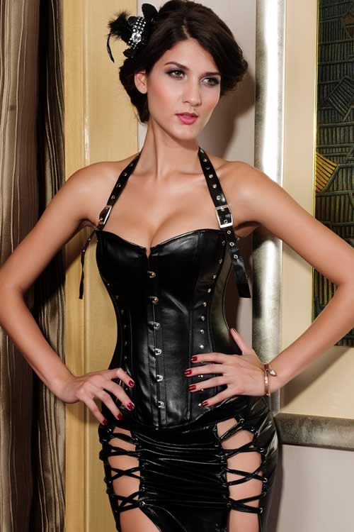 Steampunk Halter Neck Rivet Body Shaper Corset in Black