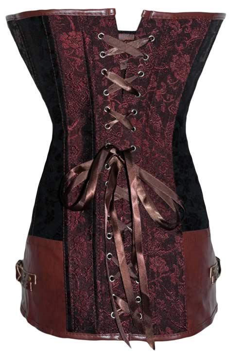 Steampunk Brocade Leather Body Shaper Corset Brown