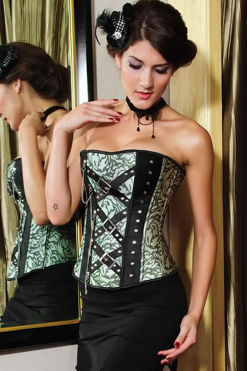 Classic Jacquard Waist Cincher Corset with Rivets and Chain