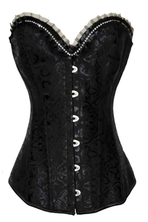 Rhinestone and Brocade Body Shaper Corset Black