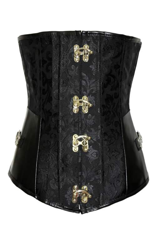 Black Floral Brocade Leather Hourglass Corset