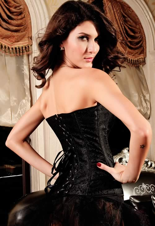 Luxurious Hourglass Jacquard Strapless Corset Black