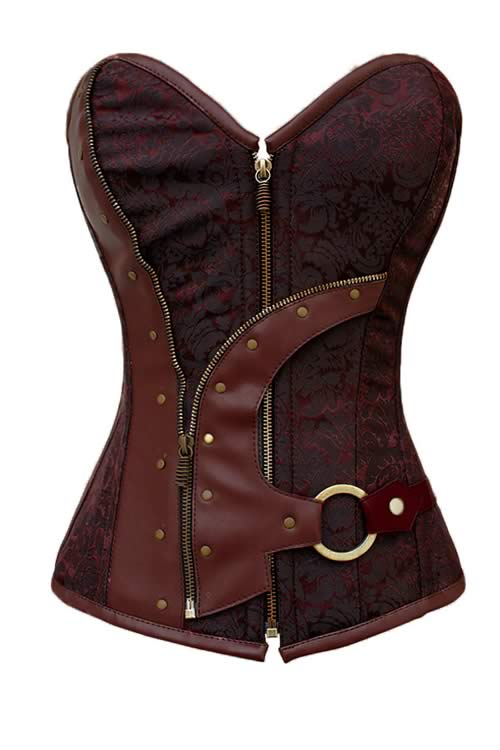 Brown Brocade Steampunk Steel Boned Corset