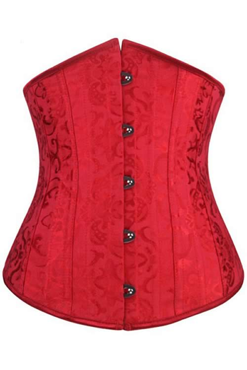 Red Floral Jacquard Steel Boned Underbust Corset