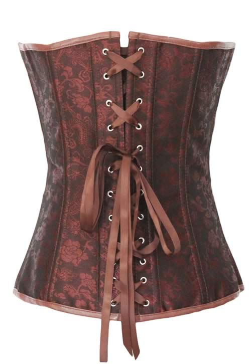 Steampunk Floral Hourglass Jacquard Body Shaper Corset Brown