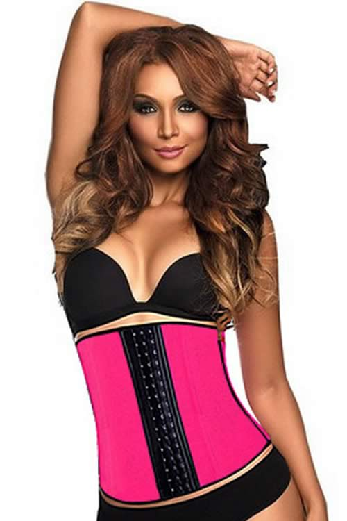 Steel Boned Hourglass Latex Underbust Corset Rose
