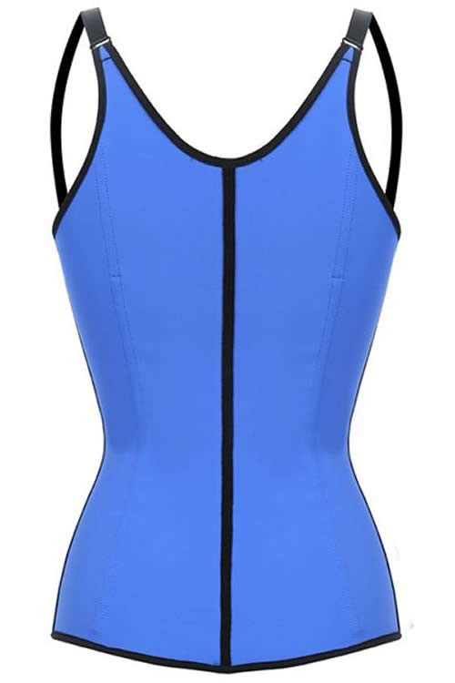 Blue Steel Boned Latex Waist Trainer Vest Corset