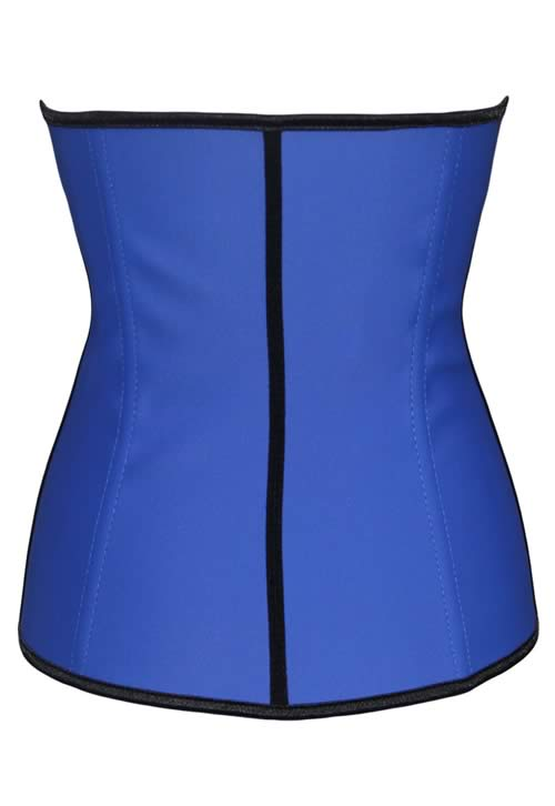 Blue 4 Steel Boned Trilayer Rubber Waist Cincher Corset