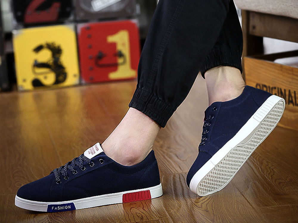 V17 Men Breathable Lace up Running Canvas Sprot Shoes in Blue